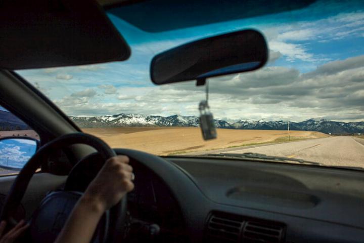 El espejo interior del coche.